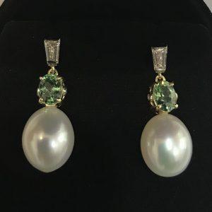 South Sea Pearls with Demantoid Garnet and Tapered Baguette Diamond Earrings