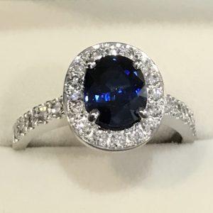 Australian Sapphire, Bead and Claw set Diamond Cluster Ring