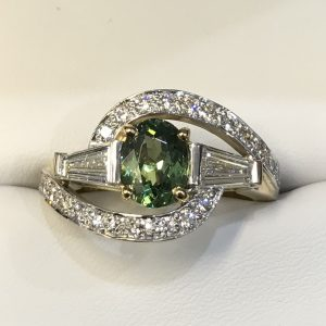 Demantoid Garnet & Tapered Baguette Diamond Ring