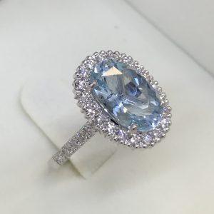 Aqua and Diamond Halo Cluster Ring