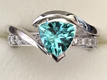 Paraiba Trilliant Cut Tourmaline & Diamond Ring top view