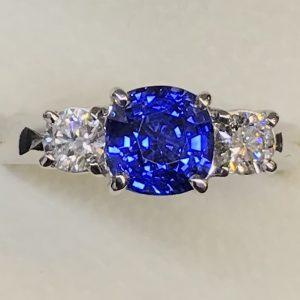 Intense Blue Cushion Cut Sapphire & Diamond Ring