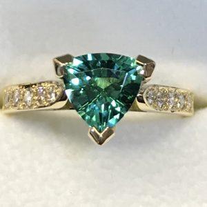 Trilliant cut Teal coloured Tourmaline & Diamond Ring