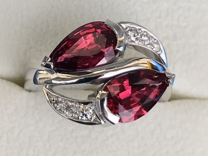 Burmese Red Pear-shaped Spinel and Diamond Ring top view