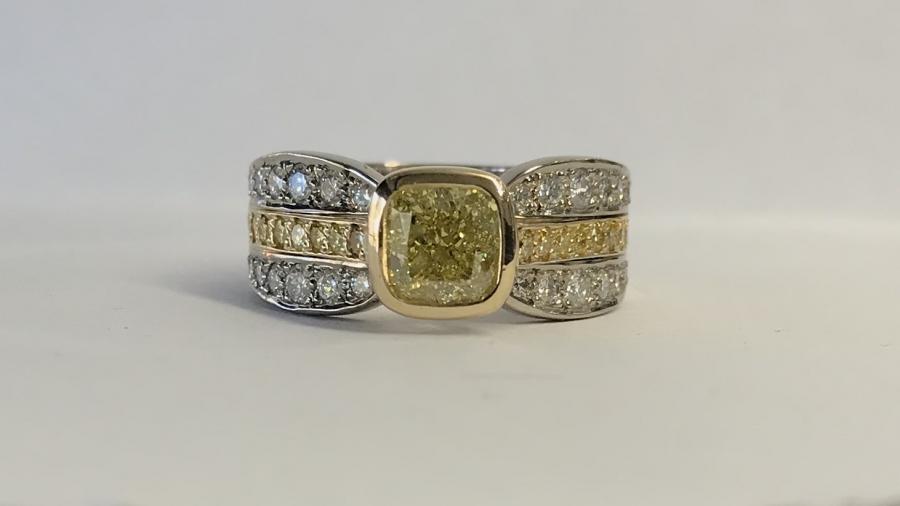 Intense Fancy Yellow Cushion Cut Diamond Ring top view