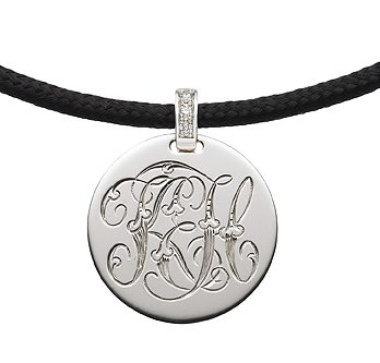 The Initially Collection Silver Disc with Victorian Interlocking Scroll Script