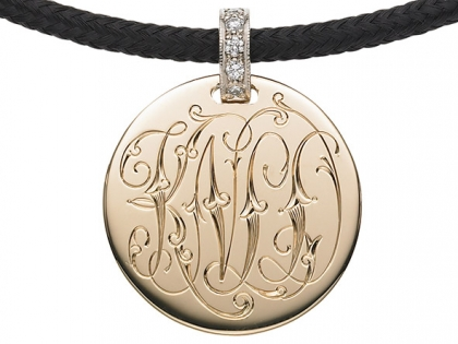 The Initially Collection Gold Disc with Victorian Interlocking Scroll Script