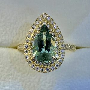 Seafoam Tourmaline & 2-Tiered Diamond Cluster Ring